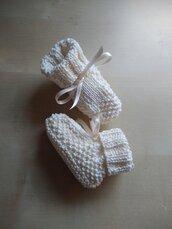 Scarpine ai ferri cotone neonato regalo nascita battesimo avorio panna