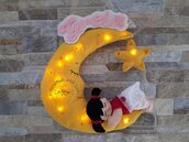 Fiocco nascita luna in pannolenci con la bimba illuminato