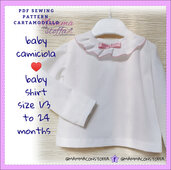 cartamodello pdf camiciola neonato/a da taglia 1-3 mesi a 24 mesi