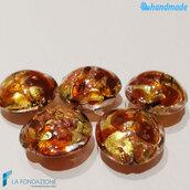 Perle Schisse Onda Ambra 16 mm in vetro di Murano - 5 pezzi