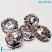 Perle Schisse Onda Rosa e Argento 16 mm in vetro di Murano - 5 pezzi
