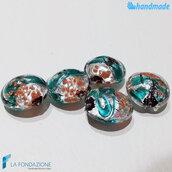 Perle Schisse Onda Verde Acqua e Argento 16 mm in vetro di Murano - 5 pezzi