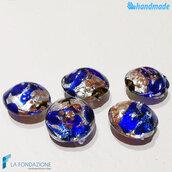 Perle Schisse Onda Blu e Argento 16 mm in vetro di Murano - 5 pezzi