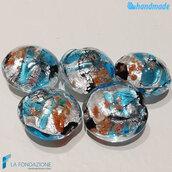 Perle Schisse Onda Azzurra e Argento 16 mm in vetro di Murano - 5 pezzi