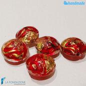 Perle Schisse Onda Rossa 16 mm in vetro di Murano - 5 pezzi