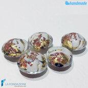 Perle Schisse Onda Avorio 16 mm in vetro di Murano - 5 pezzi