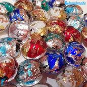 5 Perle Schisse Onda 16 mm in vetro di Murano - 5 pezzi diverso colore