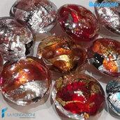 10 Perle Schisse Onda 16 mm in vetro di Murano - 10 pezzi diverso colore