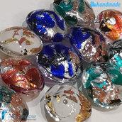15 Perle Schisse Onda 16 mm in vetro di Murano - 15 pezzi diverso colore