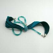 Bracciale verde boho, bracciale di seta shibori e cristallo, gioielli donna, collana verde,  regalo per lei