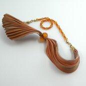 Bracciale a fascia arancio , bracciale con nastro di seta e cristalli di swarovski, regali per lei