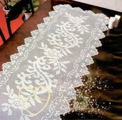 Schema PDF - Centro filet a uncinetto - decorazioni per la casa - Runner - Striscia grande