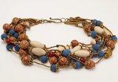 collana etnica multifilo perle varie, legno, pietre, lava