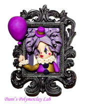Quadretto Clown e palloncino violetto