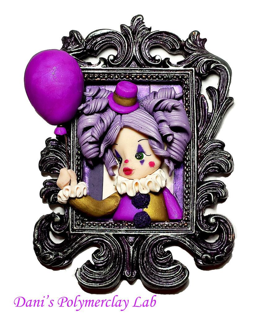 Quadretto Clown e palloncino violetto