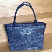 Borsa a spalla elegante blu con disegno argento Super-Comoda! fatta di tessuto Obi /Kimono Seta100% Misura PC