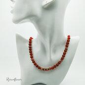Collana di agata rossa e argento 925, perle rosse con strass, collana di perline rosse, regalo damigella