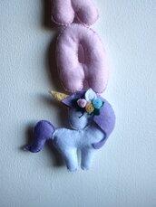 Banner unicorno in tessuto da bambina.