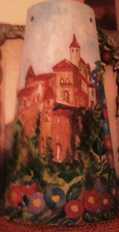 tegola in legno dipinta