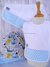 SET ASILO SCUOLA bambino, 3 pezzi: bavaglio, sacca e asciugamano