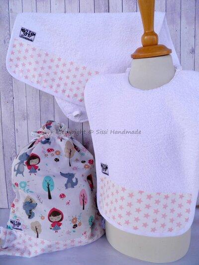 SET ASILO SCUOLA bambina, 3 pezzi: bavaglio, sacca e asciugamano
