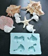 Multistampo Stampo tema mare balena, pesce, tartaruga, cavalluccio gomma siliconica