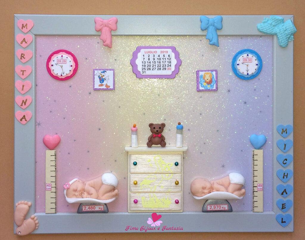 Amato Quadretto nascita grande per gemelli. Idea regalo - Bambini QL47