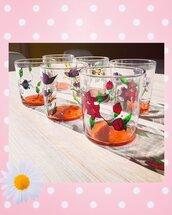 Set di 6 bicchieri decorati a mano con motivi floreali