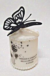 candela decorata con frase