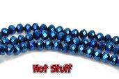 10 Rondelle di Cristallo sfaccettato - Blu metallico (8x6mm)
