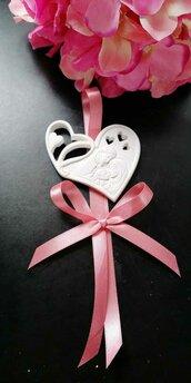 Sacra Famiglia cuore traforato segnaposto gesso ceramico  profumato nuovo modello