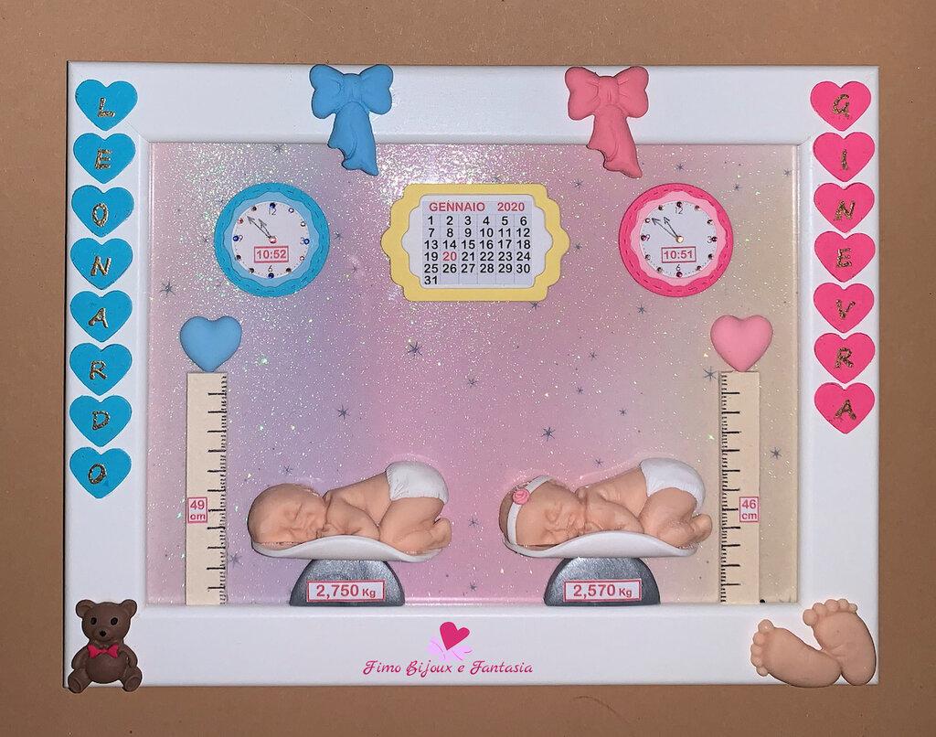 Popolare Quadretto nascita per gemelli decorato in fimo. Idea regalo SS52