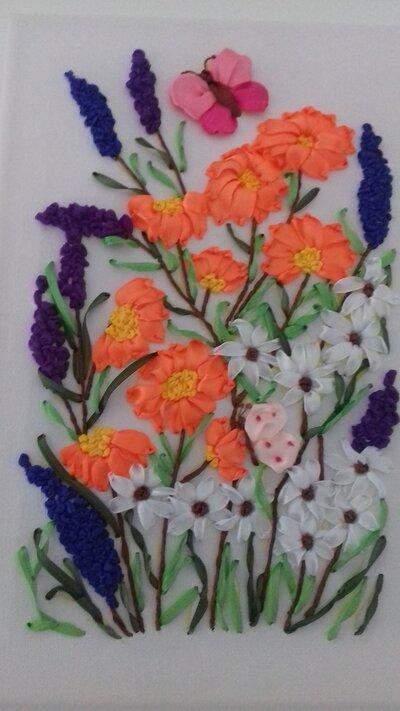 Quadro fiori e farfalle