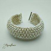 Bracciale a fascia, bracciale fatto a mano, bracciale di perle naturali, perle barocche, regalo per lei