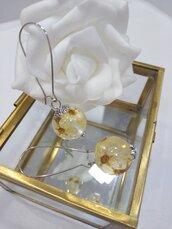 Orecchini donna fatti a mano orecchini fiori bianchi orecchini lunghi fiori veri sfere botaniche