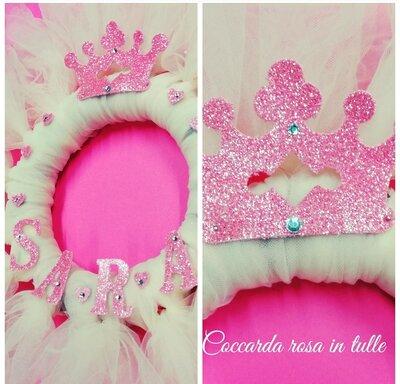 Coccarda ghirlanda  nascita rosa in tulle