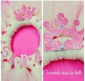 Coccarda nascita rosa in tulle a ghirlanda