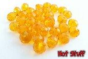 10 Rondelle di Cristallo sfaccettato - Ambra giallo (8x6mm)