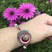 Braccialetto fiore 🌷 con bottone vintage