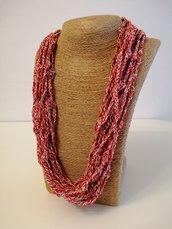 Collana cotone rosso ed ecrù multifilo