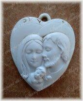 Stampo cuore bombato sacra Famiglia in silicone