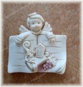 Stampo vangelo libro cresima con angelo comunione in silicone misura 4,5 cm
