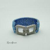 Bracciale azzurro a fascia, bracciale con swarovski,  bracciale luminoso, regalo per lei