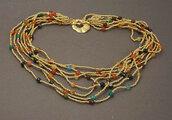 collana multicolor pietre agata e perline di vetro oro, fatta a mano, idea regalo per lei