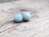 Piccoli orecchini pietra Acquamarina naturale a perno, artigianato italiano, raffinati eleganti per tutti i giorni