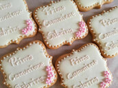 Biscotti decorati comunione ghiaccia reale raffinati biscotto segnaposto pasta di zucchero personalizzati