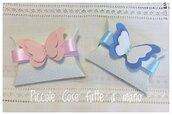 Bomboniera scatolina portaconfetti Battesimo nascita con farfalla in gomma crepla