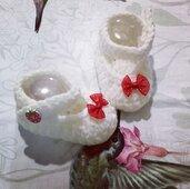 Scarpette scarpine cotone  crochet neonato bebè