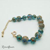 Bracciale con perle blu, perle tensha, regalo ragazza, gioielli artigianali, regali amica