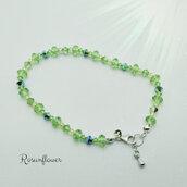Bracciale verde argento 925,  bracciale con cristalli di swarovski, regalo per lei, regalo di anniversario